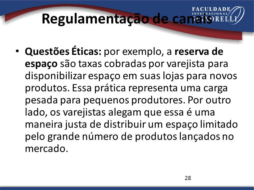28 Regulamentação de canais Questões Éticas: por exemplo, a reserva de espaço são taxas cobradas por varejista para disponibilizar espaço em suas lojas para novos produtos.