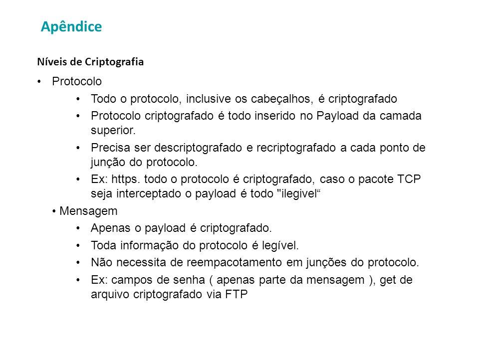 Apêndice Protocolo Todo o protocolo, inclusive os cabeçalhos, é criptografado Protocolo criptografado é todo inserido no Payload da camada superior. P