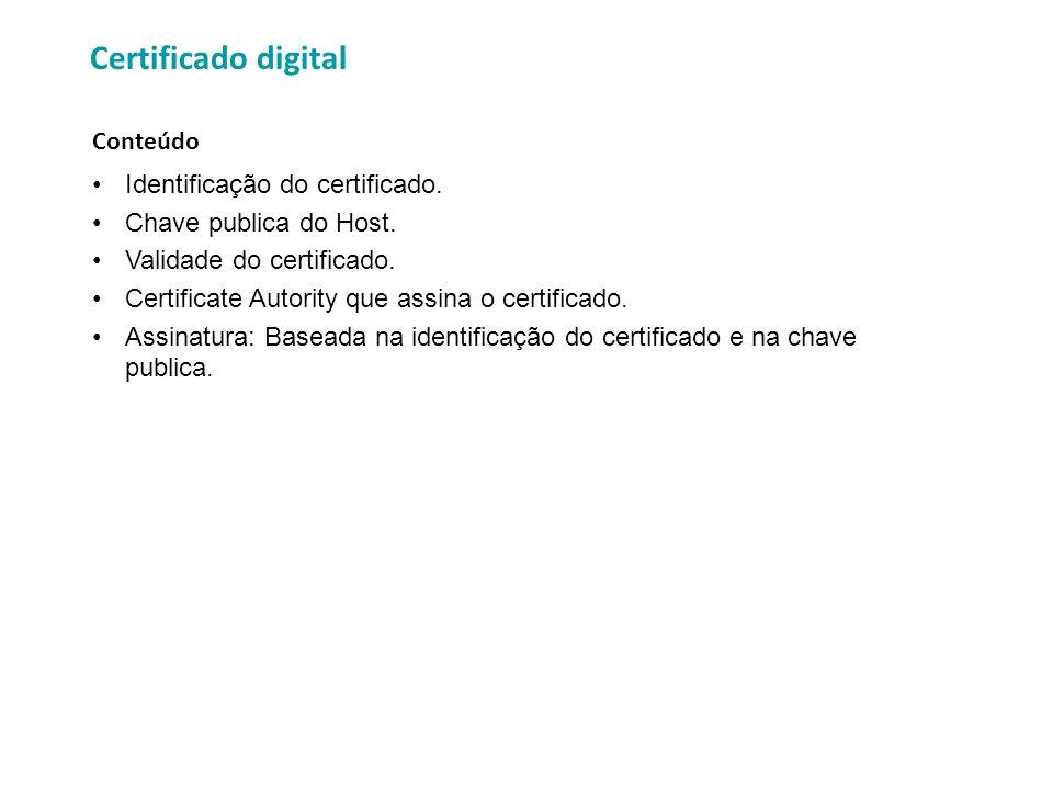 Identificação do certificado. Chave publica do Host. Validade do certificado. Certificate Autority que assina o certificado. Assinatura: Baseada na id