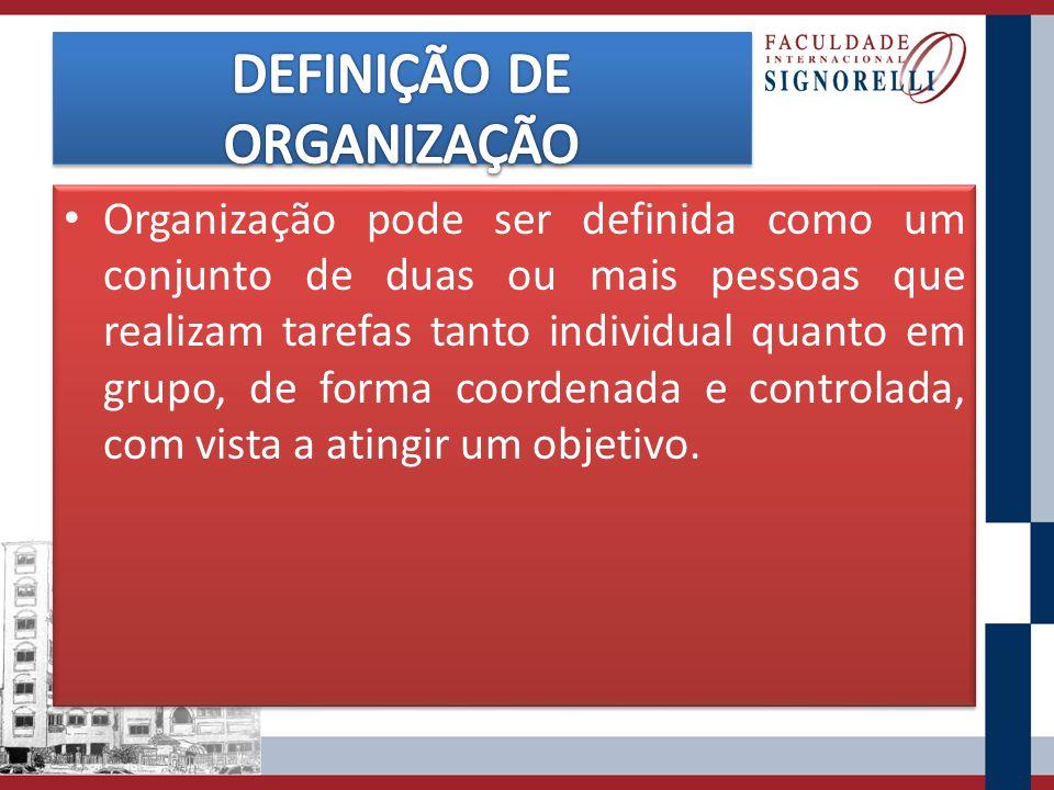 Organização pode ser definida como um conjunto de duas ou mais pessoas que realizam tarefas tanto individual quanto em grupo, de forma coordenada e co