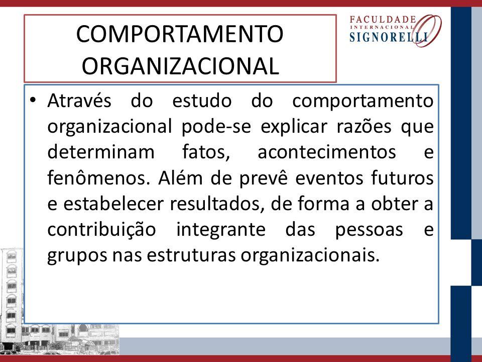 COMPORTAMENTO ORGANIZACIONAL Através do estudo do comportamento organizacional pode-se explicar razões que determinam fatos, acontecimentos e fenômeno