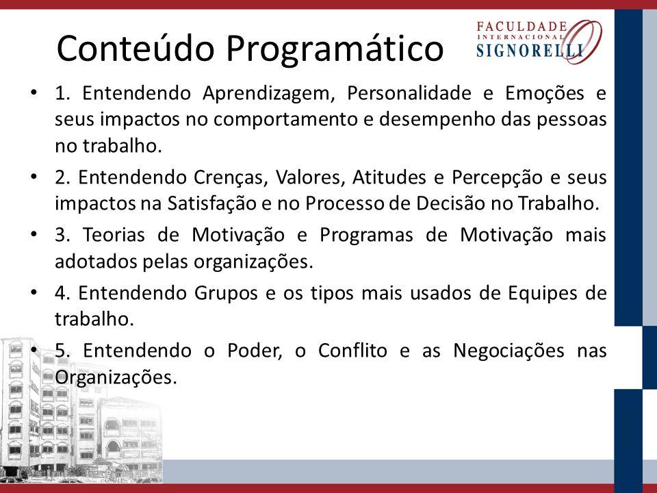 Conteúdo Programático 1. Entendendo Aprendizagem, Personalidade e Emoções e seus impactos no comportamento e desempenho das pessoas no trabalho. 2. En