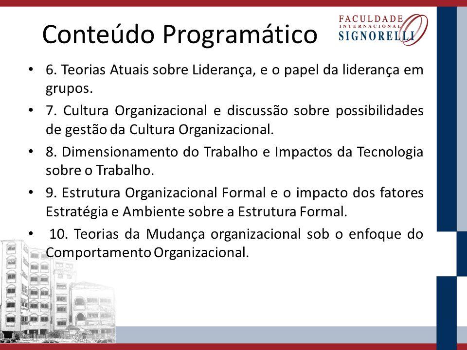 Conteúdo Programático 6. Teorias Atuais sobre Liderança, e o papel da liderança em grupos. 7. Cultura Organizacional e discussão sobre possibilidades