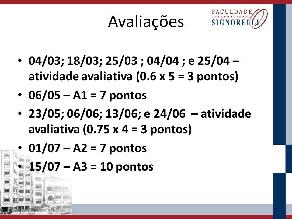 Avaliações 04/03; 18/03; 25/03 ; 04/04 ; e 25/04 – atividade avaliativa (0.6 x 5 = 3 pontos) 06/05 – A1 = 7 pontos 23/05; 06/06; 13/06; e 24/06 – ativ