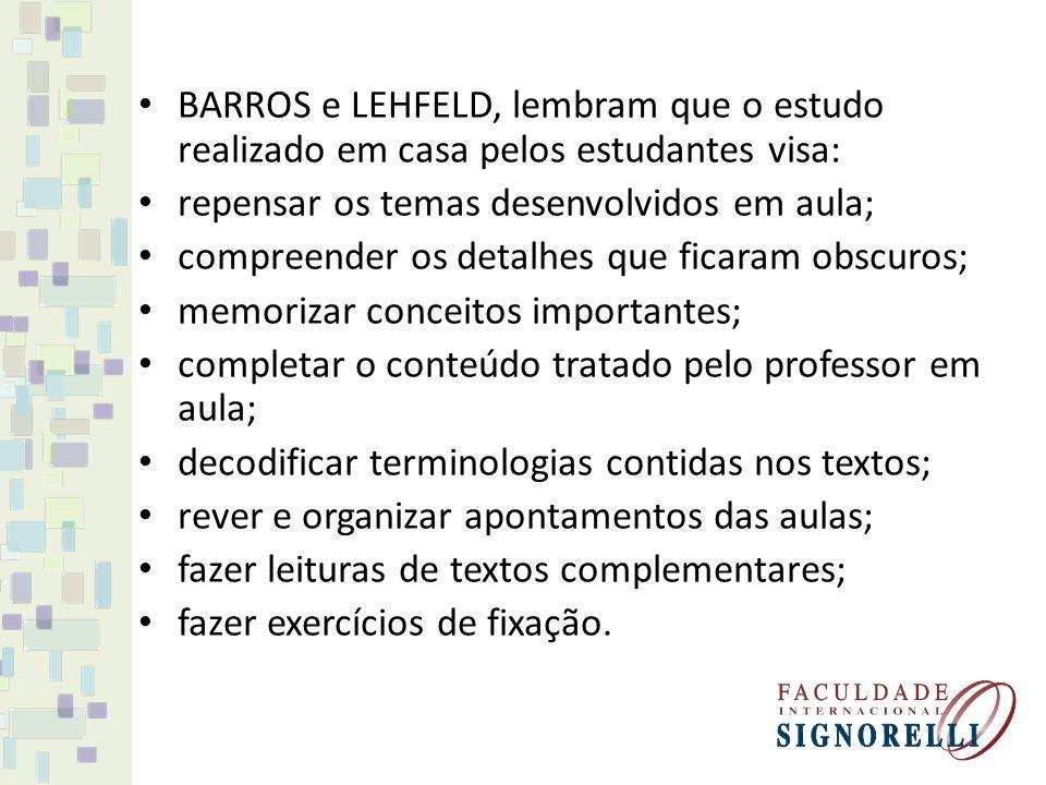 BARROS e LEHFELD, lembram que o estudo realizado em casa pelos estudantes visa: repensar os temas desenvolvidos em aula; compreender os detalhes que f