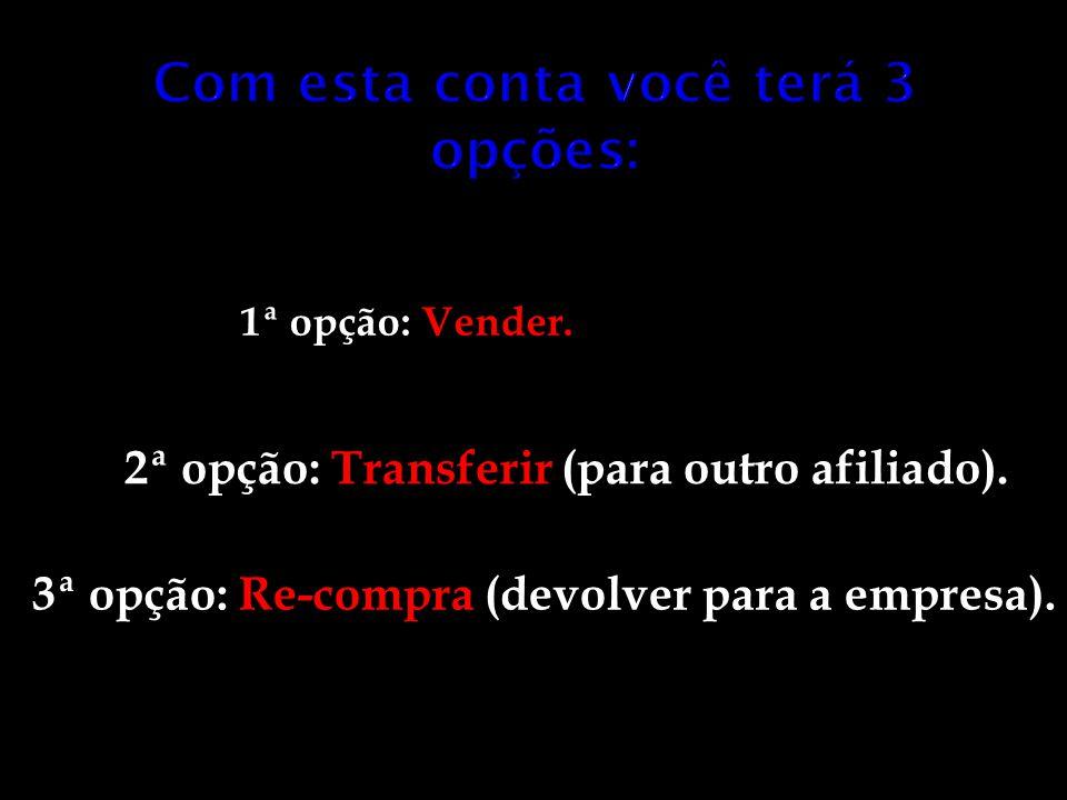 1ª opção: Vender. 2ª opção: Transferir (para outro afiliado). 3ª opção: Re-compra (devolver para a empresa).