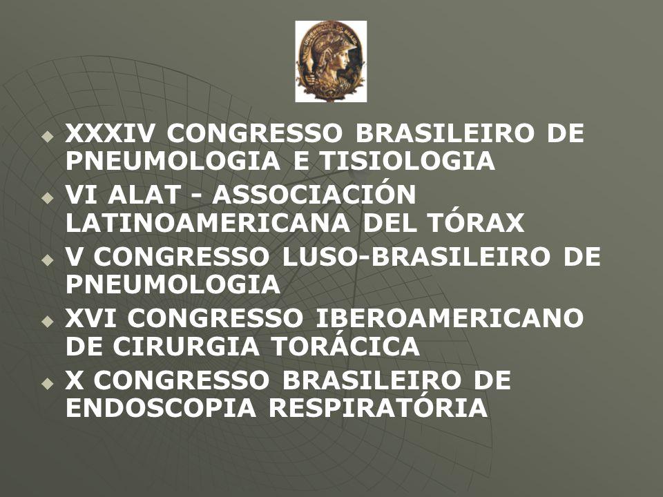   XXXIV CONGRESSO BRASILEIRO DE PNEUMOLOGIA E TISIOLOGIA   VI ALAT - ASSOCIACIÓN LATINOAMERICANA DEL TÓRAX   V CONGRESSO LUSO-BRASILEIRO DE PNEU