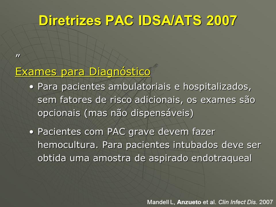 """Diretrizes PAC IDSA/ATS 2007 """" Exames para Diagnóstico Para pacientes ambulatoriais e hospitalizados, sem fatores de risco adicionais, os exames são o"""