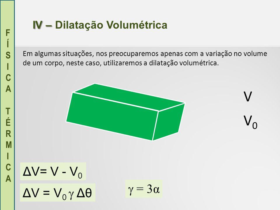 FÍSICA TÉRMICAFÍSICA TÉRMICA IV – IV – Dilatação Volumétrica Em algumas situações, nos preocuparemos apenas com a variação no volume de um corpo, nest