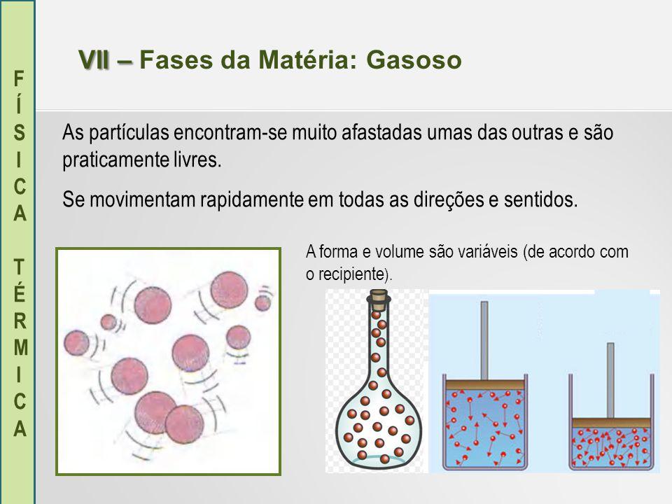 FÍSICA TÉRMICAFÍSICA TÉRMICA VII – VII – Fases da Matéria: Gasoso As partículas encontram-se muito afastadas umas das outras e são praticamente livres