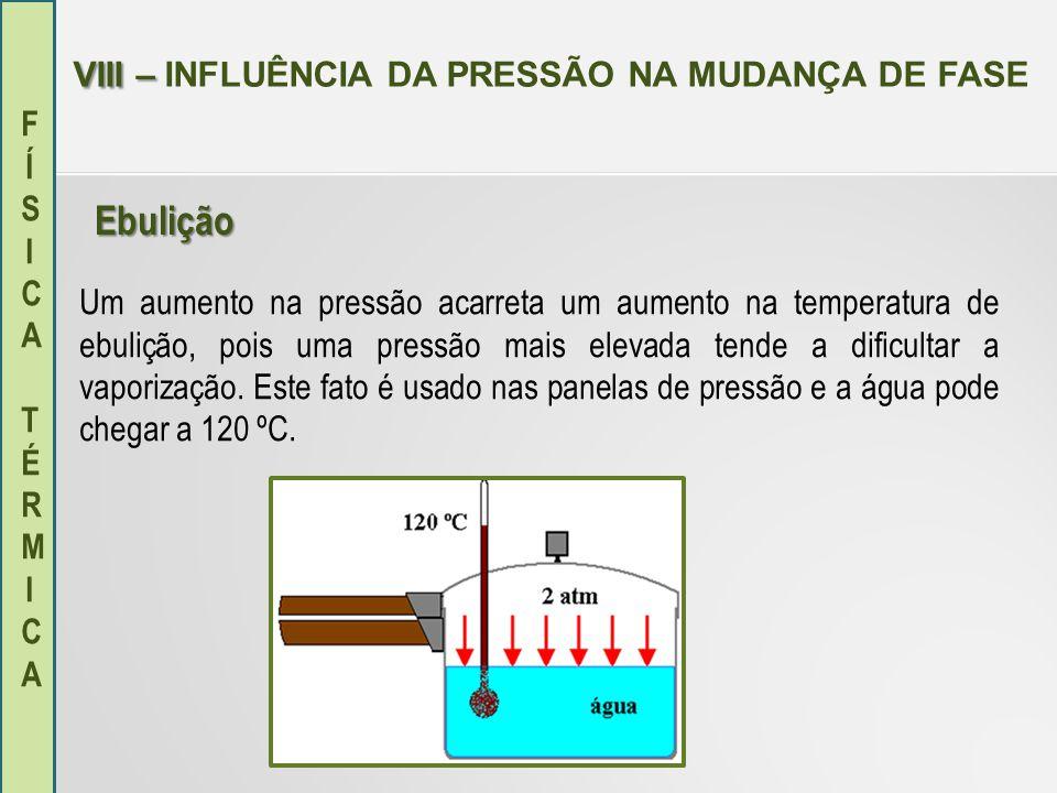 FÍSICA TÉRMICAFÍSICA TÉRMICA VIII – VIII – INFLUÊNCIA DA PRESSÃO NA MUDANÇA DE FASE Um aumento na pressão acarreta um aumento na temperatura de ebuliç