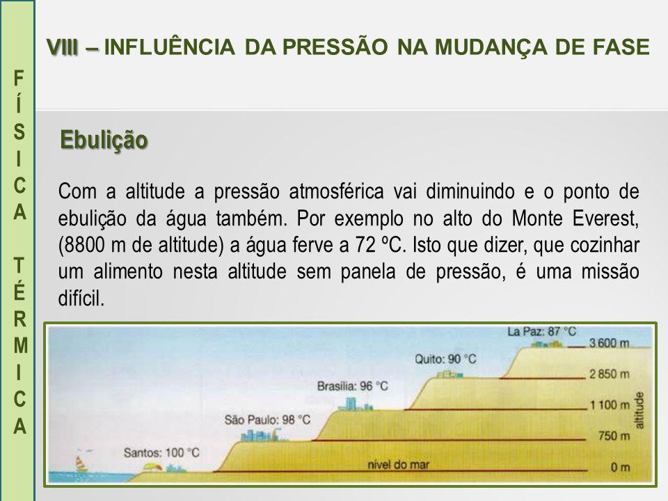 FÍSICA TÉRMICAFÍSICA TÉRMICA VIII – VIII – INFLUÊNCIA DA PRESSÃO NA MUDANÇA DE FASE Com a altitude a pressão atmosférica vai diminuindo e o ponto de e
