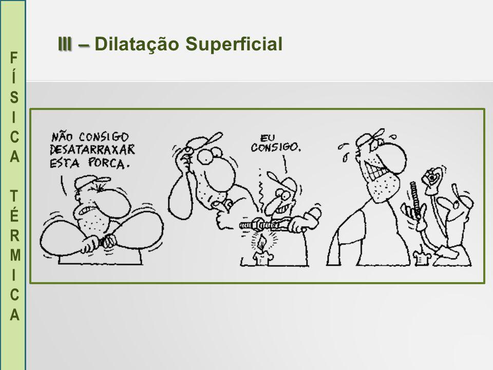 FÍSICA TÉRMICAFÍSICA TÉRMICA III – III – Dilatação Superficial