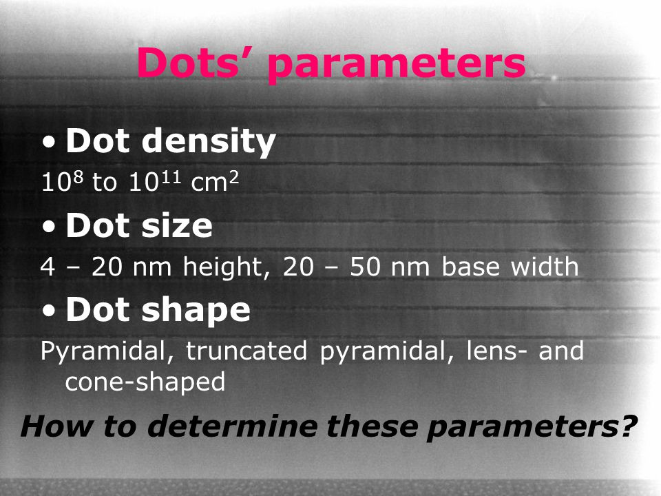 Dots' parameters Dot density 10 8 to 10 11 cm 2 Dot size 4 – 20 nm height, 20 – 50 nm base width Dot shape Pyramidal, truncated pyramidal, lens- and c