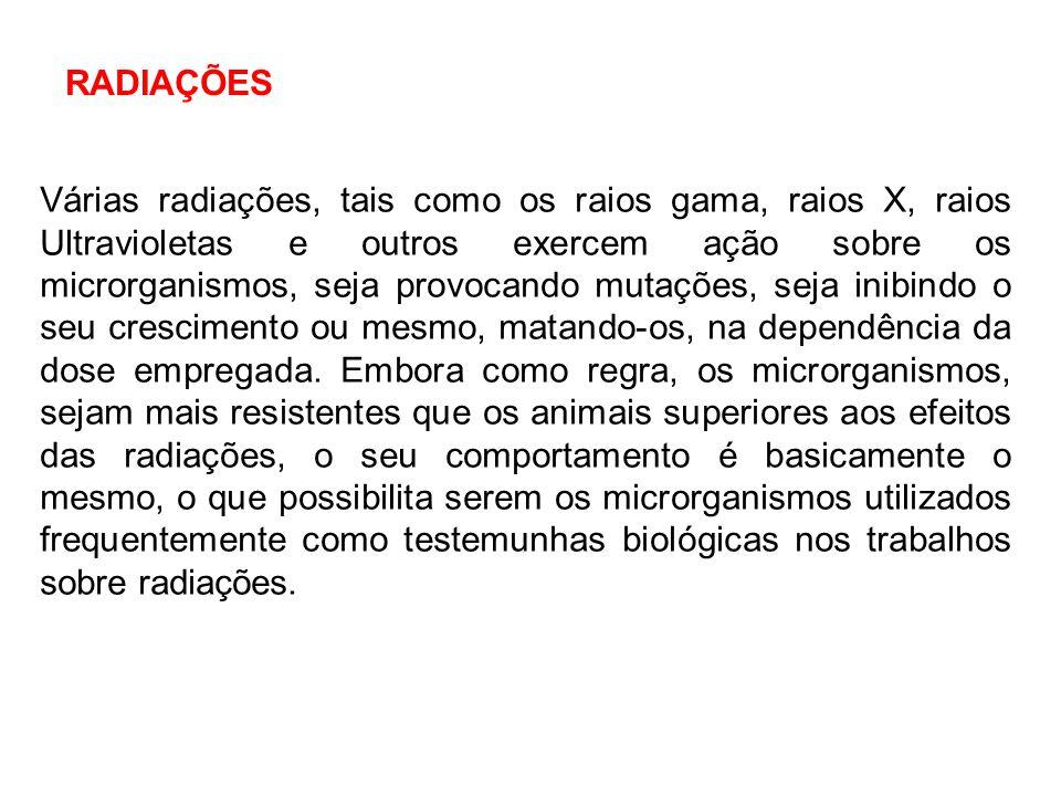 Várias radiações, tais como os raios gama, raios X, raios Ultravioletas e outros exercem ação sobre os microrganismos, seja provocando mutações, seja