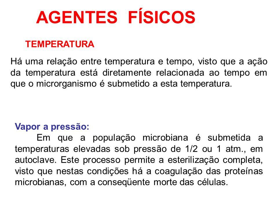AGENTES FÍSICOS TEMPERATURA Há uma relação entre temperatura e tempo, visto que a ação da temperatura está diretamente relacionada ao tempo em que o m