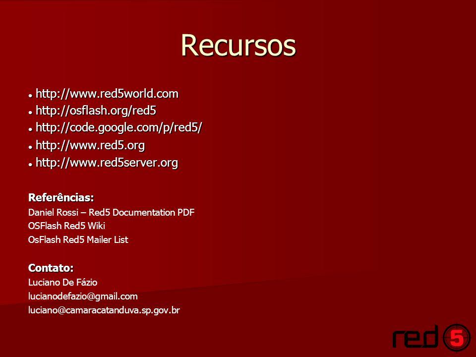 Recursos http://www.red5world.com http://www.red5world.com http://osflash.org/red5 http://osflash.org/red5 http://code.google.com/p/red5/ http://code.google.com/p/red5/ http://www.red5.org http://www.red5.org http://www.red5server.org http://www.red5server.orgReferências: Daniel Rossi – Red5 Documentation PDF OSFlash Red5 Wiki OsFlash Red5 Mailer ListContato: Luciano De Fázio lucianodefazio@gmail.com luciano@camaracatanduva.sp.gov.br