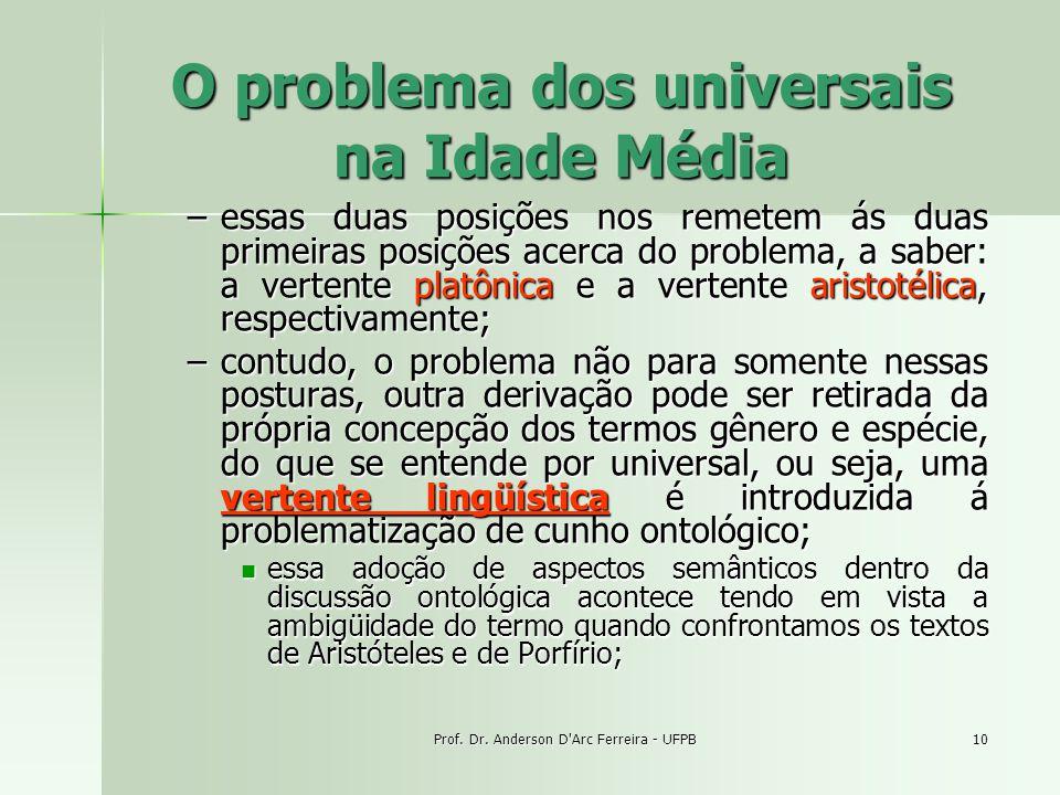 Prof. Dr. Anderson D'Arc Ferreira - UFPB10 O problema dos universais na Idade Média –essas duas posições nos remetem ás duas primeiras posições acerca