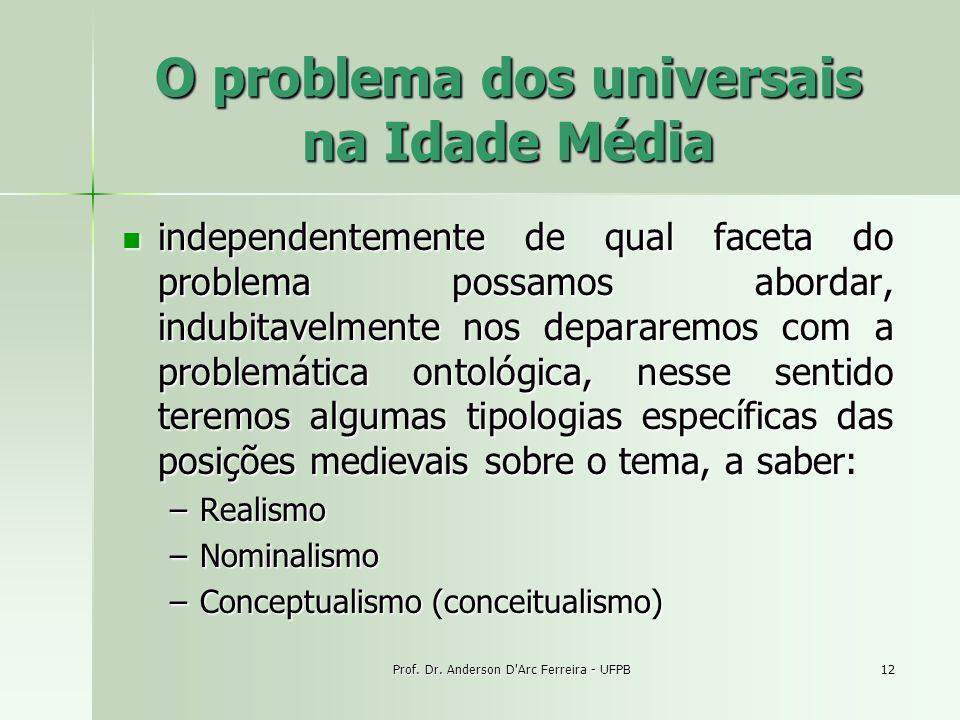Prof. Dr. Anderson D'Arc Ferreira - UFPB12 O problema dos universais na Idade Média independentemente de qual faceta do problema possamos abordar, ind
