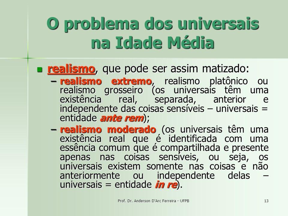 Prof. Dr. Anderson D'Arc Ferreira - UFPB13 O problema dos universais na Idade Média realismo, que pode ser assim matizado: realismo, que pode ser assi