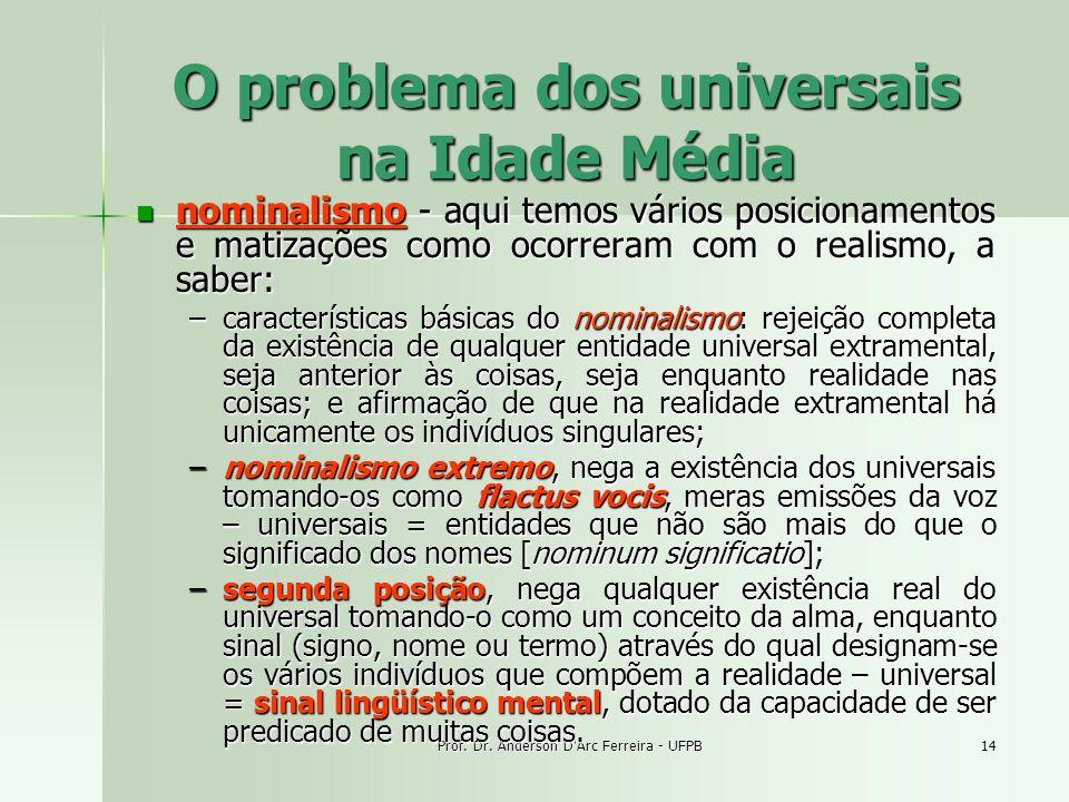Prof. Dr. Anderson D'Arc Ferreira - UFPB14 O problema dos universais na Idade Média nominalismo - aqui temos vários posicionamentos e matizações como
