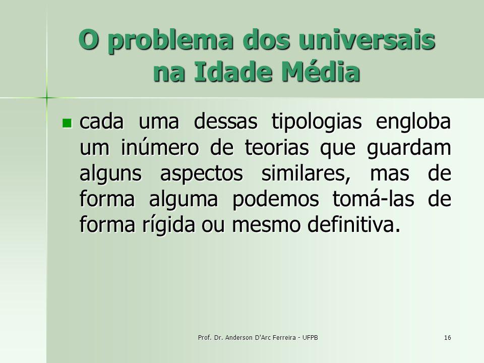 Prof. Dr. Anderson D'Arc Ferreira - UFPB16 O problema dos universais na Idade Média cada uma dessas tipologias engloba um inúmero de teorias que guard