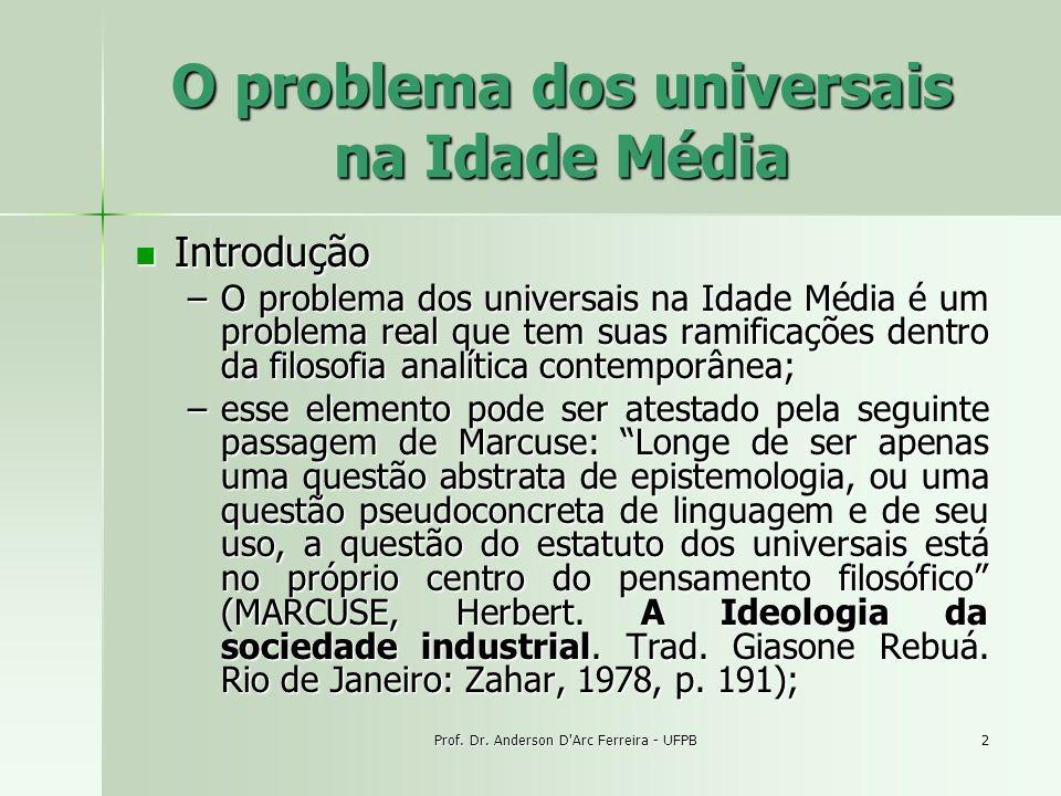 Prof. Dr. Anderson D'Arc Ferreira - UFPB2 O problema dos universais na Idade Média Introdução Introdução –O problema dos universais na Idade Média é u