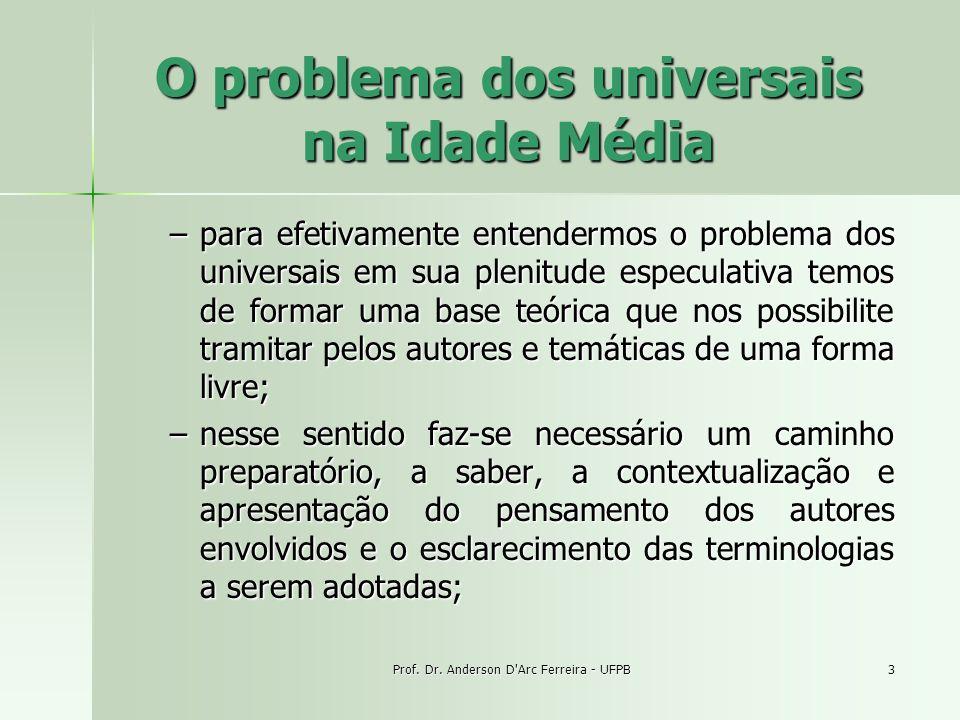Prof. Dr. Anderson D'Arc Ferreira - UFPB3 O problema dos universais na Idade Média –para efetivamente entendermos o problema dos universais em sua ple