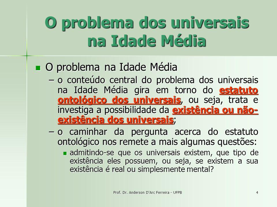 Prof. Dr. Anderson D'Arc Ferreira - UFPB4 O problema dos universais na Idade Média O problema na Idade Média O problema na Idade Média –o conteúdo cen