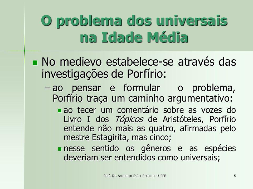 Prof. Dr. Anderson D'Arc Ferreira - UFPB5 O problema dos universais na Idade Média No medievo estabelece-se através das investigações de Porfírio: No