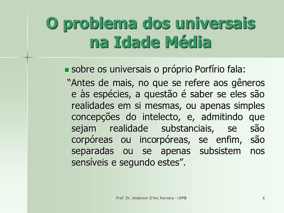 Prof. Dr. Anderson D'Arc Ferreira - UFPB6 O problema dos universais na Idade Média sobre os universais o próprio Porfírio fala: sobre os universais o