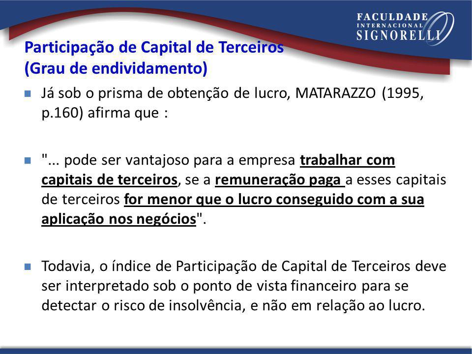 Já sob o prisma de obtenção de lucro, MATARAZZO (1995, p.160) afirma que :