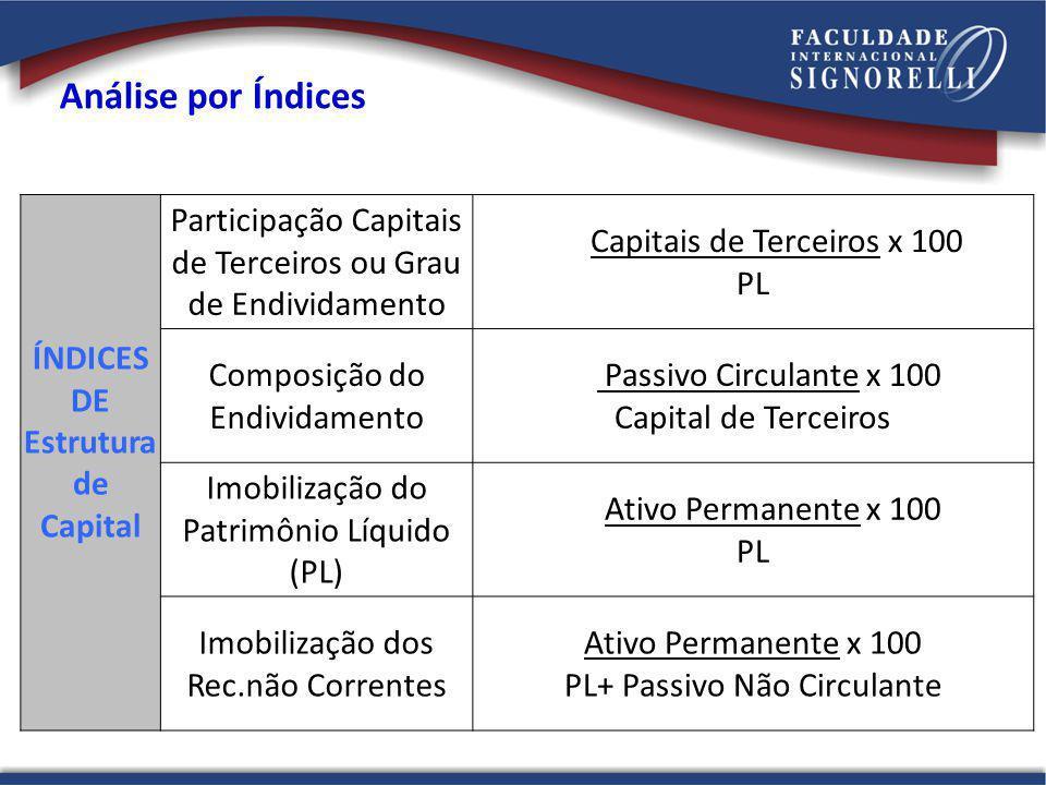 Análise por Índices ÍNDICES DE Estrutura de Capital Participação Capitais de Terceiros ou Grau de Endividamento Capitais de Terceiros x 100 PL Composi