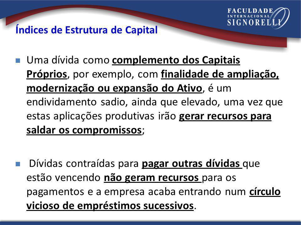 Índices de Estrutura de Capital Uma dívida como complemento dos Capitais Próprios, por exemplo, com finalidade de ampliação, modernização ou expansão
