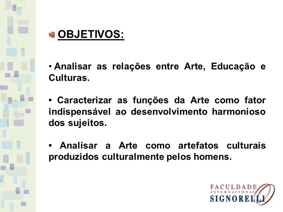 OBJETIVOS: Analisar as relações entre Arte, Educação e Culturas. Caracterizar as funções da Arte como fator indispensável ao desenvolvimento harmonios
