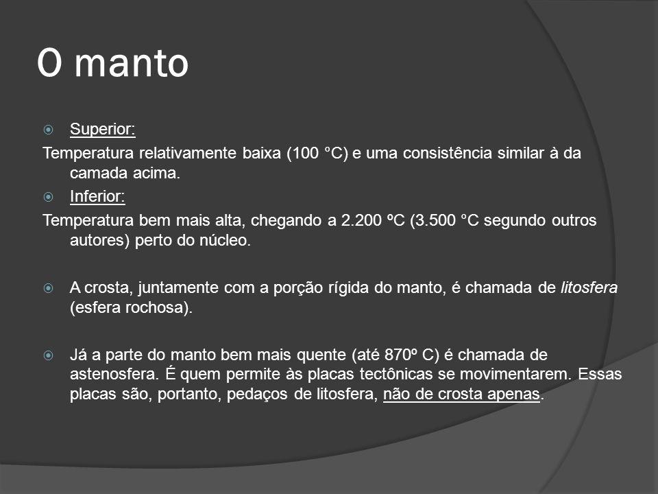  Superior: Temperatura relativamente baixa (100 °C) e uma consistência similar à da camada acima.  Inferior: Temperatura bem mais alta, chegando a 2