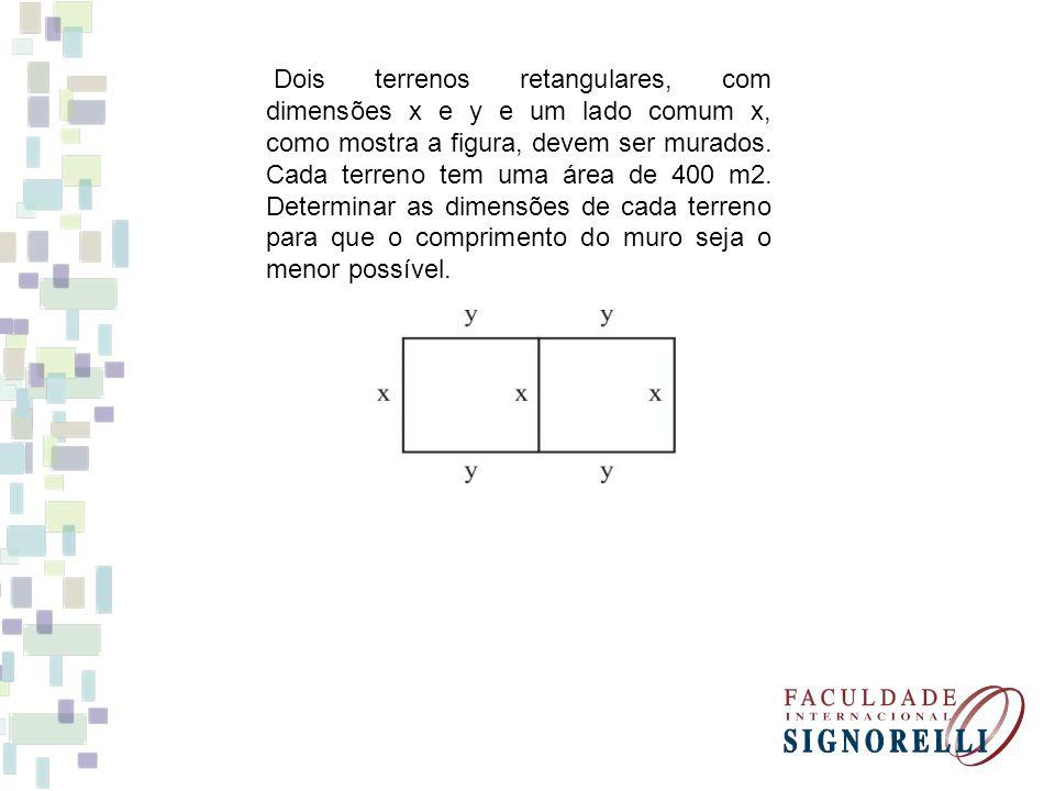 Dois terrenos retangulares, com dimensões x e y e um lado comum x, como mostra a figura, devem ser murados. Cada terreno tem uma área de 400 m2. Deter