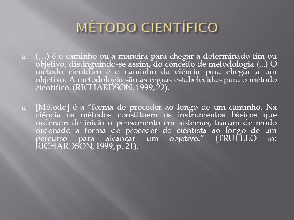  (…) é o caminho ou a maneira para chegar a determinado fim ou objetivo, distinguindo-se assim, do conceito de metodologia (...) O método científico é o caminho da ciência para chegar a um objetivo.