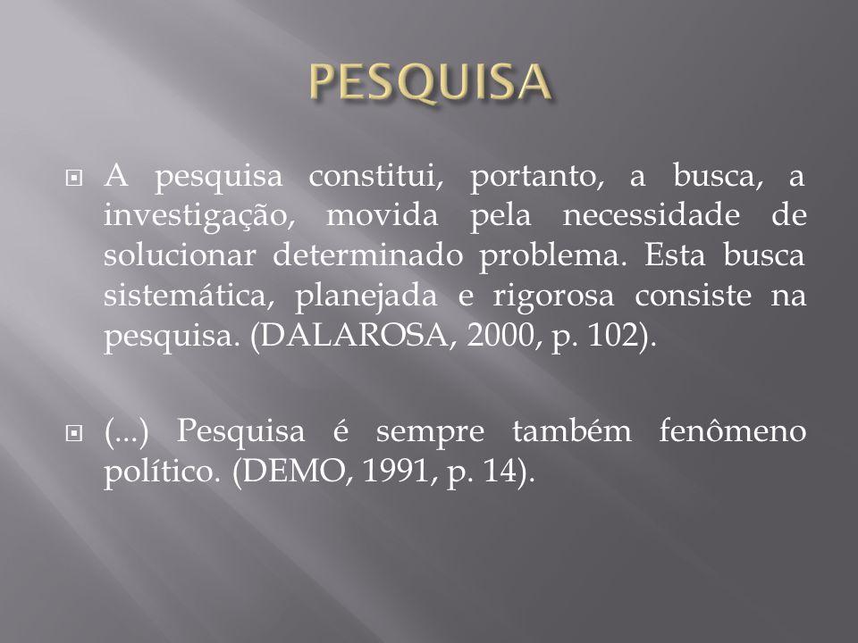  A pesquisa constitui, portanto, a busca, a investigação, movida pela necessidade de solucionar determinado problema.