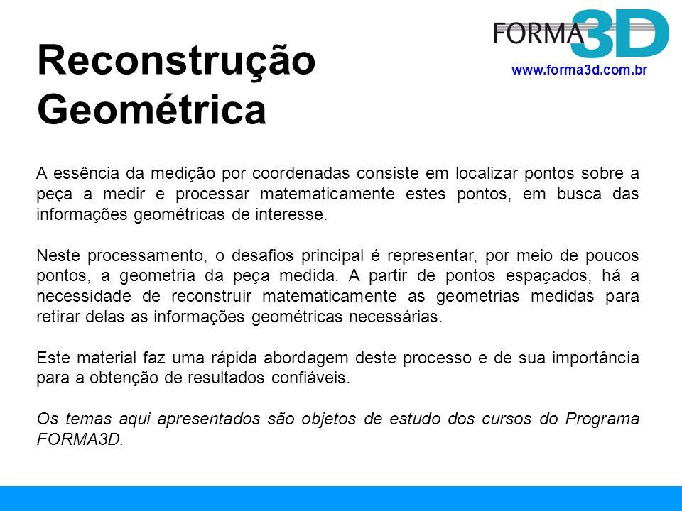 www.forma3d.com.br Minimo Cirscunscrito Diâmetro = 52,0783 mm Circularidade = 0,0214 mm Círculo reconstruído geometricamente Erro de Circularidade