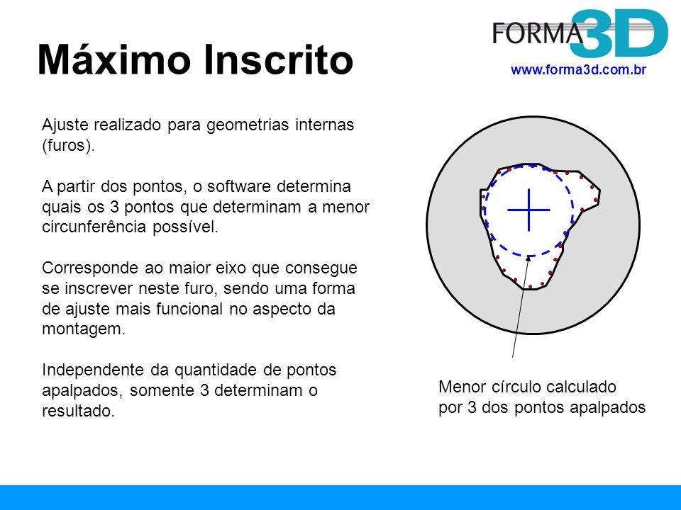 www.forma3d.com.br Mínimo Circunscrito Ajuste realizado para geometrias externas (eixos).