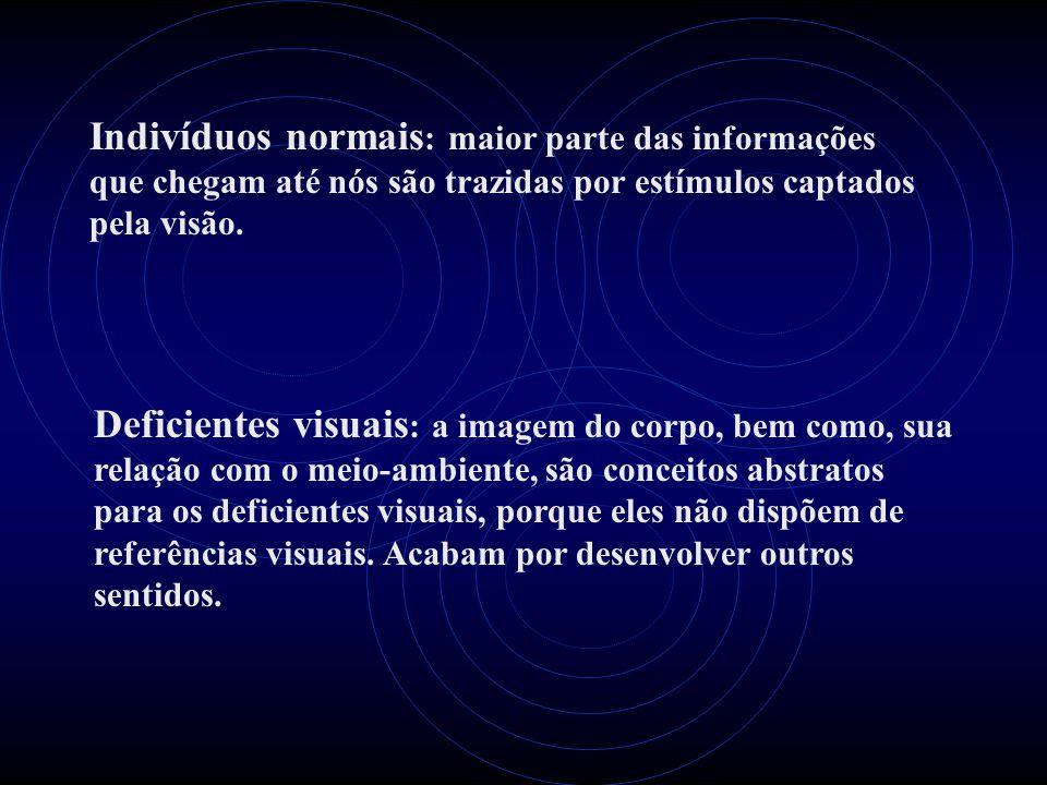 Indivíduos normais : maior parte das informações que chegam até nós são trazidas por estímulos captados pela visão. Deficientes visuais : a imagem do