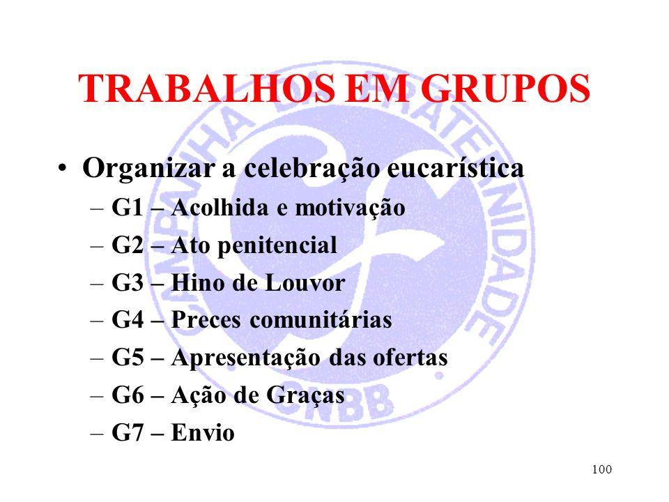 TRABALHOS EM GRUPOS Organizar a celebração eucarística –G1 – Acolhida e motivação –G2 – Ato penitencial –G3 – Hino de Louvor –G4 – Preces comunitárias