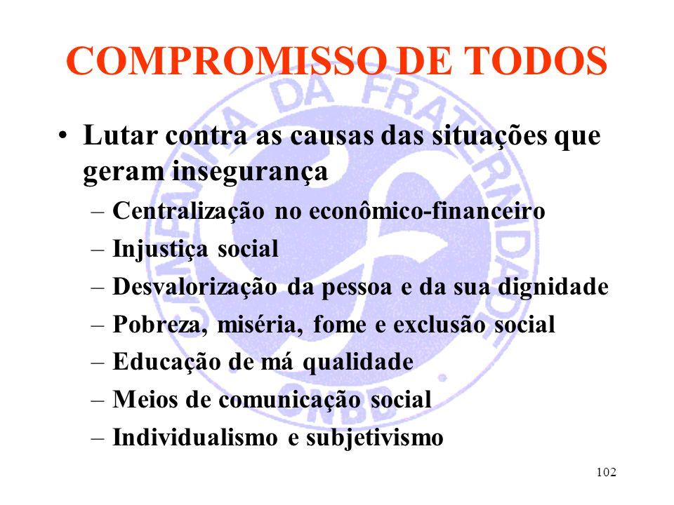 102 COMPROMISSO DE TODOS Lutar contra as causas das situações que geram insegurança –Centralização no econômico-financeiro –Injustiça social –Desvalor