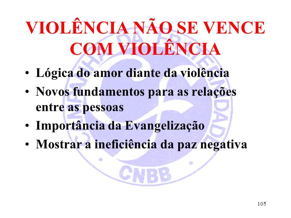 VIOLÊNCIA NÃO SE VENCE COM VIOLÊNCIA Lógica do amor diante da violência Novos fundamentos para as relações entre as pessoas Importância da Evangelizaç