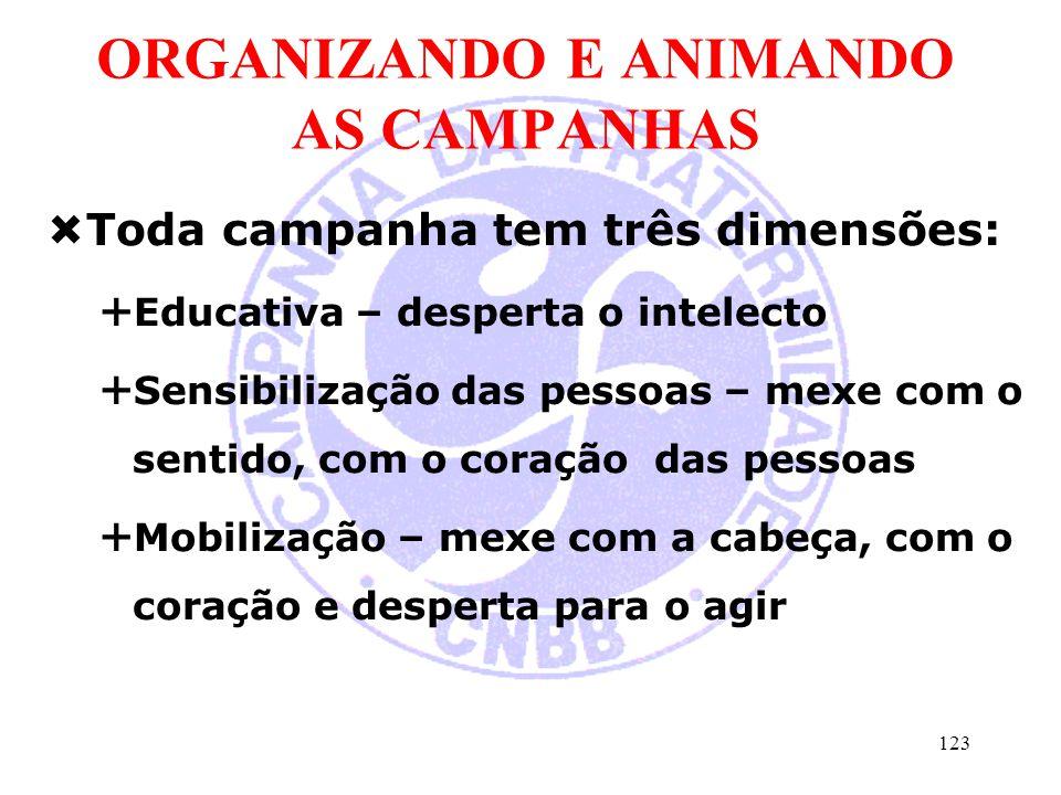 ORGANIZANDO E ANIMANDO AS CAMPANHAS  Toda campanha tem três dimensões:  Educativa – desperta o intelecto  Sensibilização das pessoas – mexe com o s