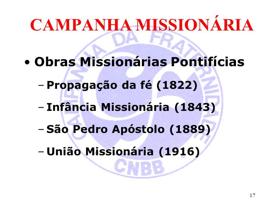 CAMPANHA MISSIONÁRIA Obras Missionárias Pontifícias –Propagação da fé (1822) –Infância Missionária (1843) –São Pedro Apóstolo (1889) –União Missionári