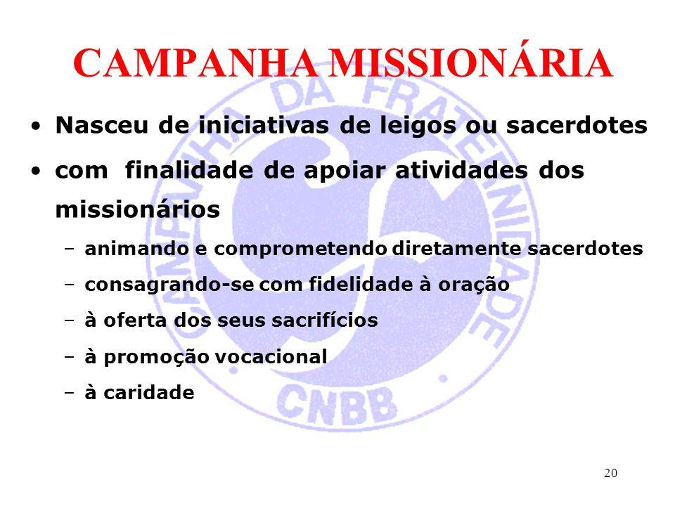 CAMPANHA MISSIONÁRIA Nasceu de iniciativas de leigos ou sacerdotes com finalidade de apoiar atividades dos missionários –animando e comprometendo dire