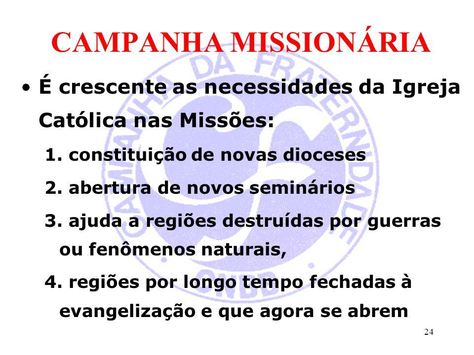 CAMPANHA MISSIONÁRIA É crescente as necessidades da Igreja Católica nas Missões: 1. constituição de novas dioceses 2. abertura de novos seminários 3.