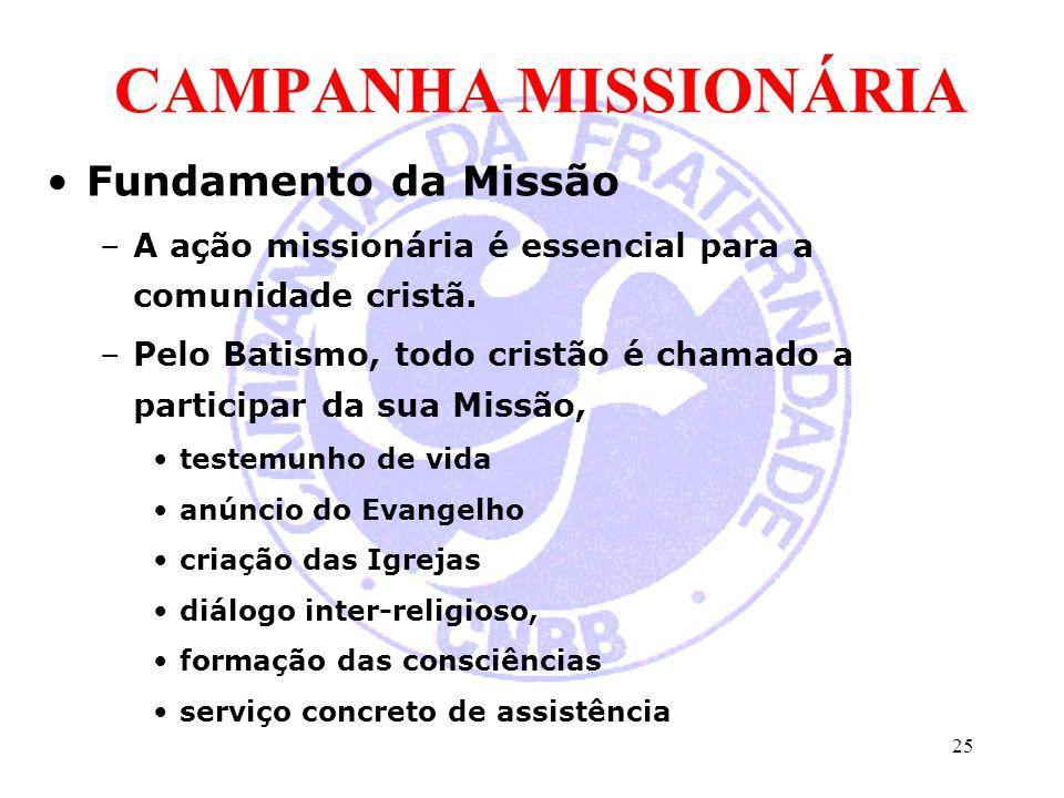 CAMPANHA MISSIONÁRIA Fundamento da Missão –A ação missionária é essencial para a comunidade cristã. –Pelo Batismo, todo cristão é chamado a participar